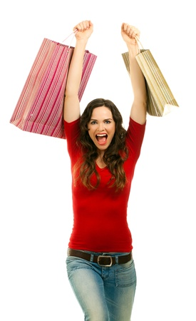 Beautiful young woman very happy with her shopping photo