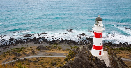 Panorama of ighthouse at Cape Palliser, North Island, New Zealand photo