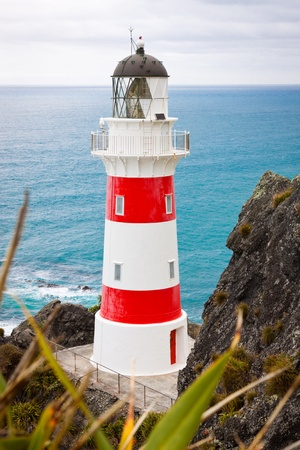 Close-up of a beautiful lighthouse at Cape Palliser, North Island, New Zealand photo