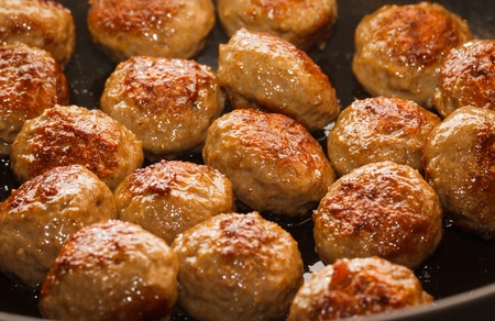Close-up of delicious  meatballs in a frying pan