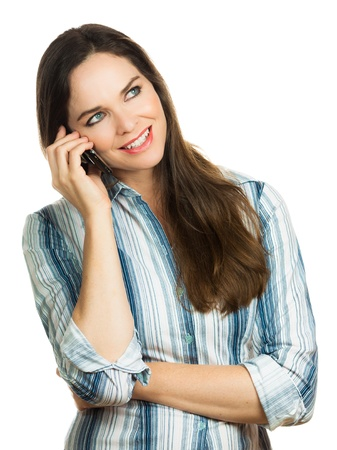 Beautiful business woman laughing and talking on her mobile phone  Isolated over white