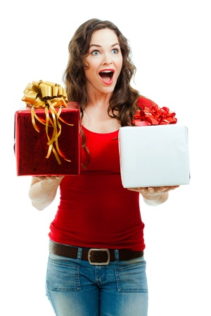 beautifully wrapped: A beautiful happy and surprised  woman holding two beautifully wrapped Christmas gifts. Isolated on white.