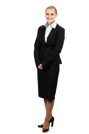 an attendant: Full length portrait of a young beautiful air hostess  Isolated over white