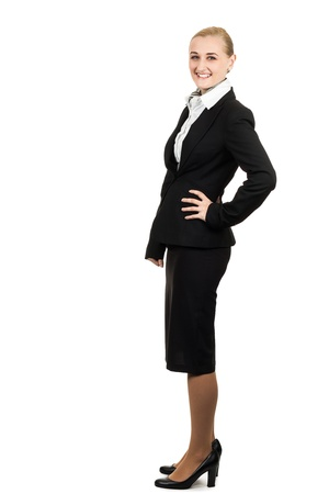 Full length portrait of a young beautiful air hostess  Isolated over white
