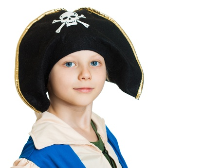 Close-up portrait of a boy dressed as a pirate. Isolated on white. photo