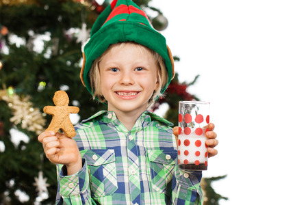 A cute boy dressed as Santa's helper or an elf is holding gingerbread man and glass of milk in front of a Christmas tree. Isolated on white. Stock Photo - 23172618