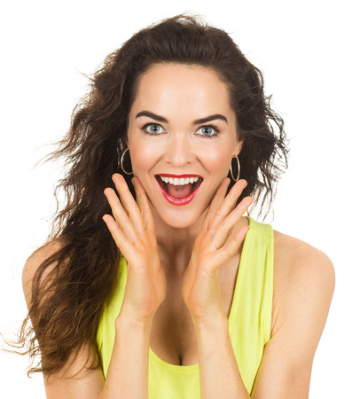 sexy mouth: A close-up portrait of a happy and surprised beautiful woman looking at camera. Isolated on white. Stock Photo