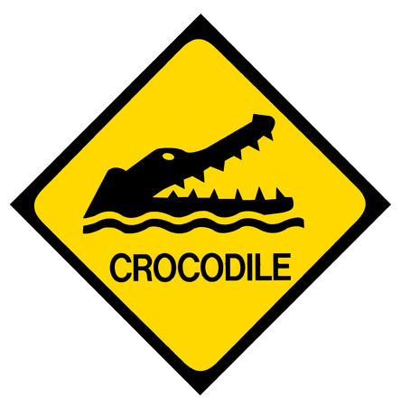 no swimming: A yellow and black crocodile warning sign  Isolated on white  Stock Photo