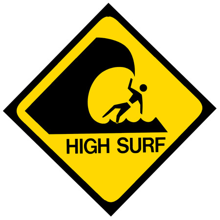 A black and yellow high surf warning sign  Isolated on white  Stock Photo