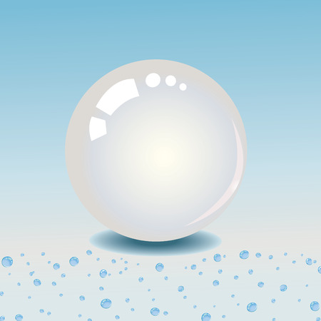 moist: Shiny white pearl on dew drops of water Illustration