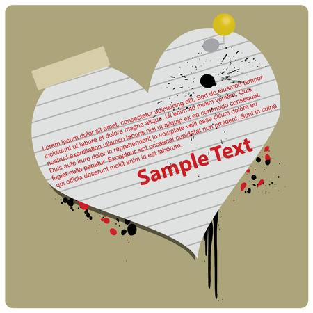 Grungy Valentine Paper Heart Vector Banner  Vector