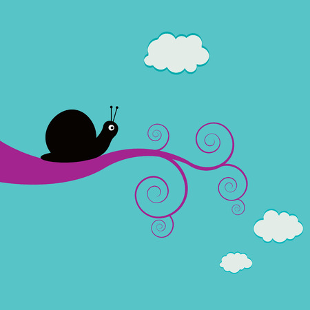 Vector illustration of a snail on a swirly branch on a summer day Иллюстрация