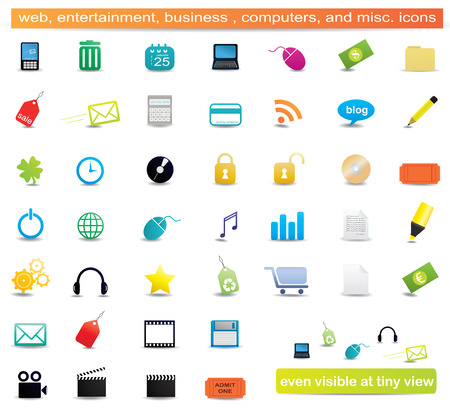Web, business, entertainment, education, computers, environment and misc. icons Иллюстрация