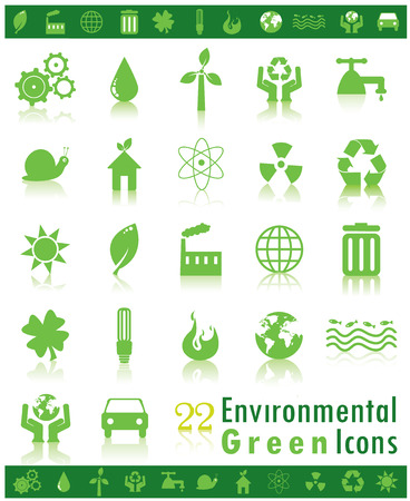 Set of 22 green environmental icons Vector