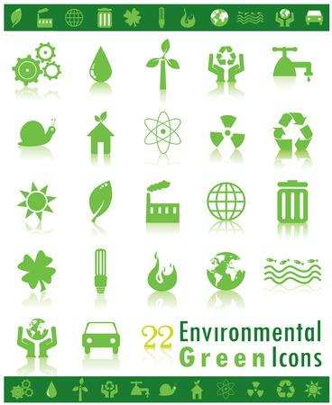 Set of 22 green environmental icons