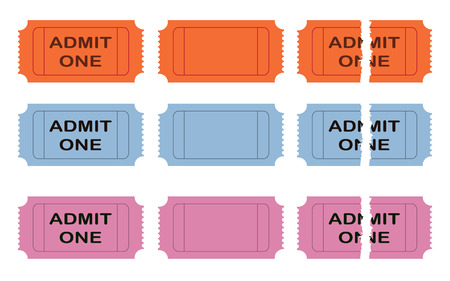 admit: Vector illustration of admit one ticket over white background Illustration