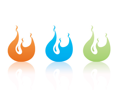 Set of colorful vector flames