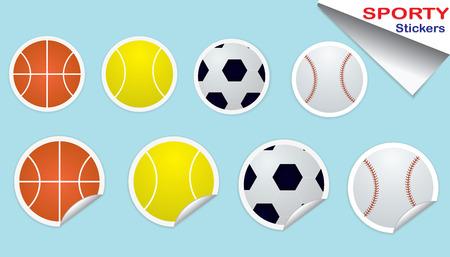 Sporty Sticker Balls Vector