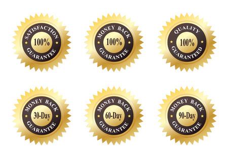 zufriedenheitsgarantie: Satz von sechs Gold-Dichtringe aus Genehmigungen (Qualit�t, Zufriedenheit und Geld-zur�ck-Garantie)