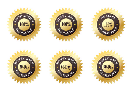 Set of Six Gold Seals of Approvals (Quality, Satisfaction and Money Back Guarantee) Иллюстрация