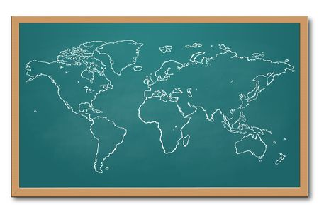 World Map on Chalkboard
