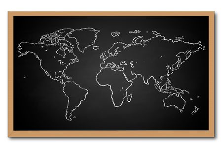 white chalks: World Map on Chalkboard
