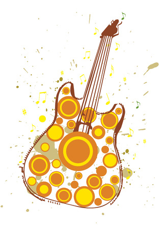 A Grungy Poster Illustration of Autumn Themed Guitar Vector
