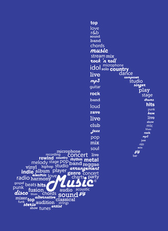 Musical concept word collage Illustration