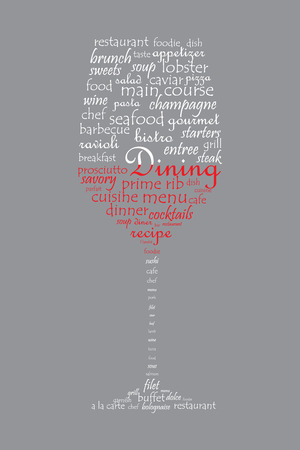 Food and dining concept on a wine glass shaped word collage Vector
