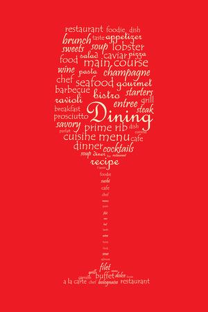 main dishes: Alimentos y comedor concepto en un collage de la palabra en forma de copa de vino