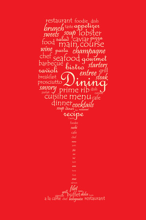 wine and dine: Food and dining concept on a wine glass shaped word collage