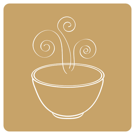 Smoking oriental soup bowl illustration Vector