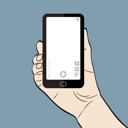 holding smart phone: Man hand holding a smart phone with camera controls for selfie Illustration