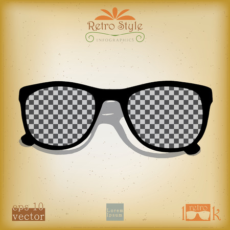 eye shade: Vintage style advertising with shade in psychedelic black and white pattern print Illustration