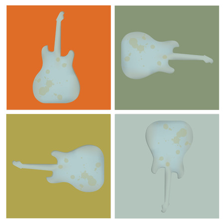 lead guitar: Set of four grunge rock guitar background