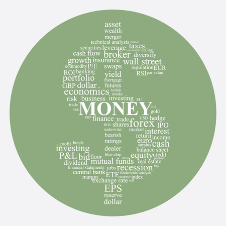 mutual funds: Money and Investing concept image in a dollar shape word collage