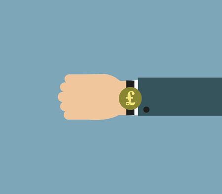 Illustration of Businessman wearing over sized watch with currency signs - British Pound 일러스트