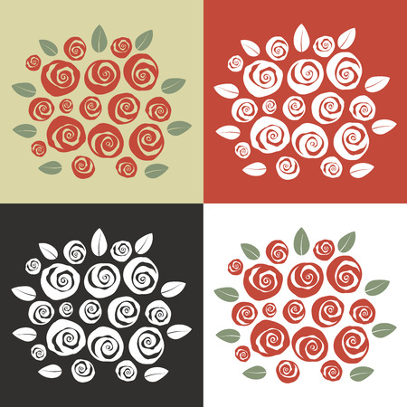 Set of four different color theme bouquet of roses swirl style Illustration