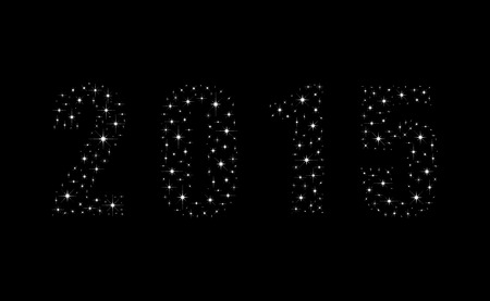 Shimmering bright stars happy new year 2015.  New year 2015 illustration.