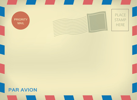 par: Mailing enveloper par avion template with blank stamps on aged textured paper Illustration