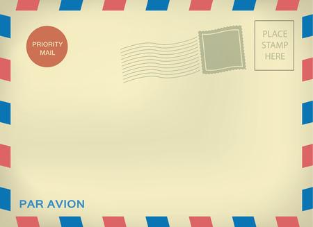 old envelope: Mailing enveloper par avion template with blank stamps on aged textured paper Illustration