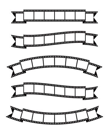 film making: Set of vintage film strips ribbon seal decorative design element