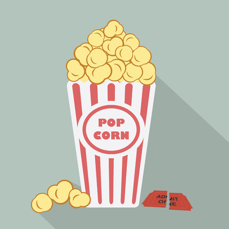 movie poster: Illustration of popcorn with torn admit one cinema ticket Illustration