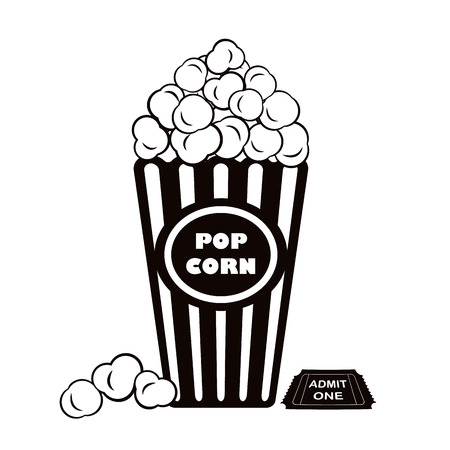 admit one: Illustration of popcorn with admit one cinema ticket