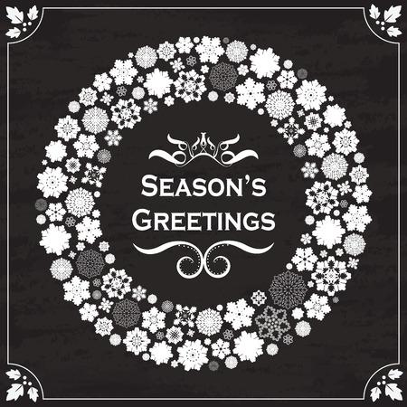 seasons greetings: Seasons Greetings Vintage confine fiocchi di neve di design sulla lavagna Vettoriali