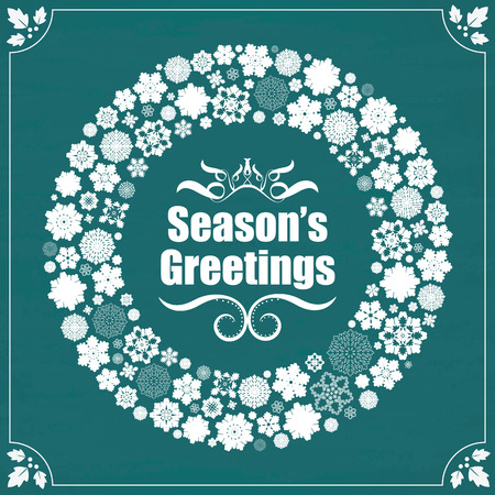 seasons greetings: Seasons Greetings - Design fiocchi di neve Vintage confine sulla lavagna Vettoriali