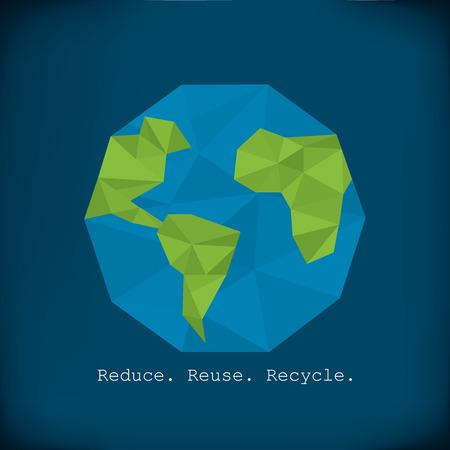 Recycling info graphics - modern polygonal element paper earth minimalist design