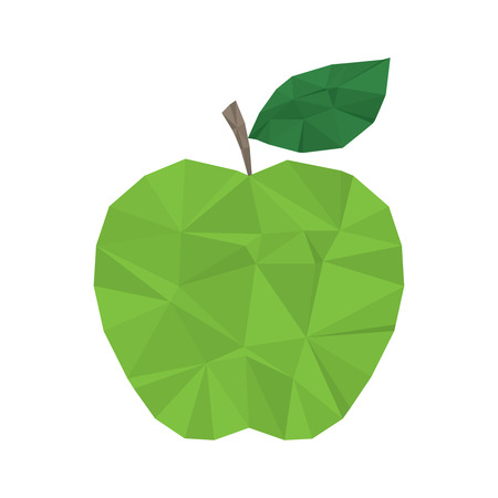 Green apple clean and modern minimal design - polygonal element no mesh no gradient Vector