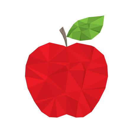 Red apple clean and modern minimal design - polygonal element no   mesh no gradient Vector