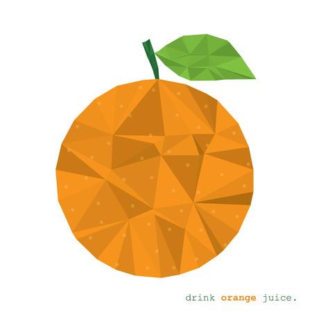 acid colors: Orange fruit clean and modern minimal design - polygonal element   no mesh no gradient